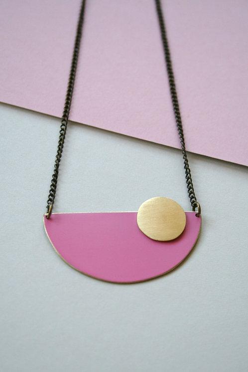 Coloured Brass Semi Circle Pendant - Pink
