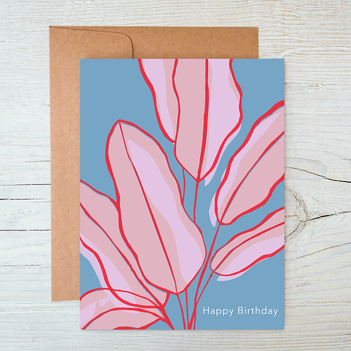 Happy Birthday Banana Leaf A6 Blank Card