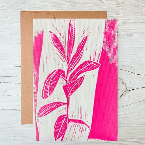 Pink Rubber Leaf Letter Press Greetings Card