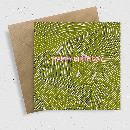 Happy Birthday Card Green
