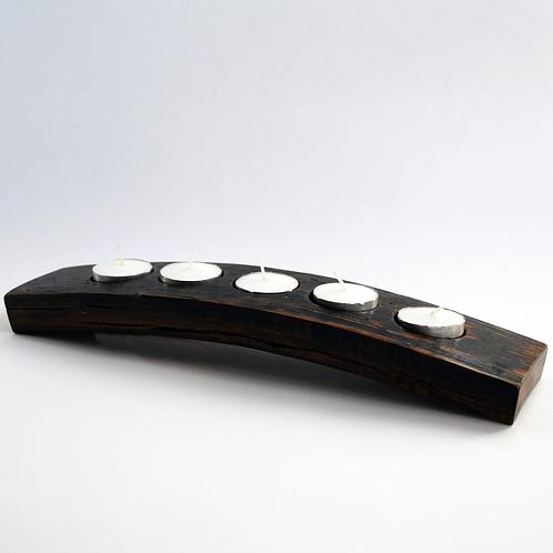 Curved Upcycled Vintage Oak Whiskey Barrel - Candle Holder