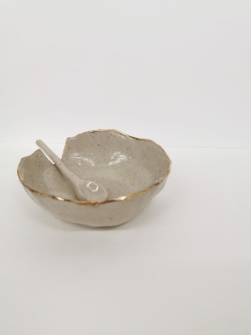 Hand Built Ceramic Pinch Pot with Spoon
