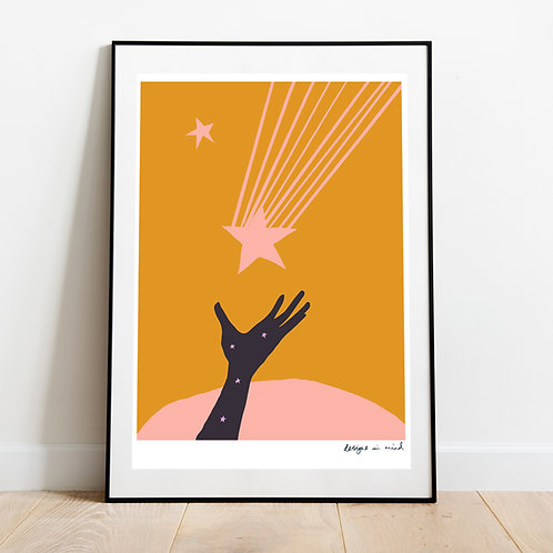 A3 Print -  Catch a falling star, Starry Night Collection