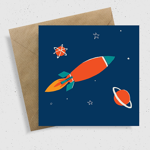 Space Rocket Greetings Card