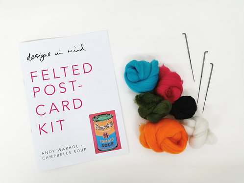 Felted Postcard Kit - Andy Warhol - Campbells Soup
