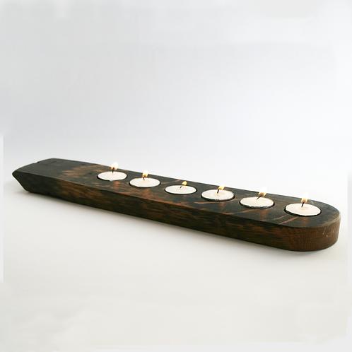 Flat Upcycled Oak Whiskey Barrel - Candle Holder