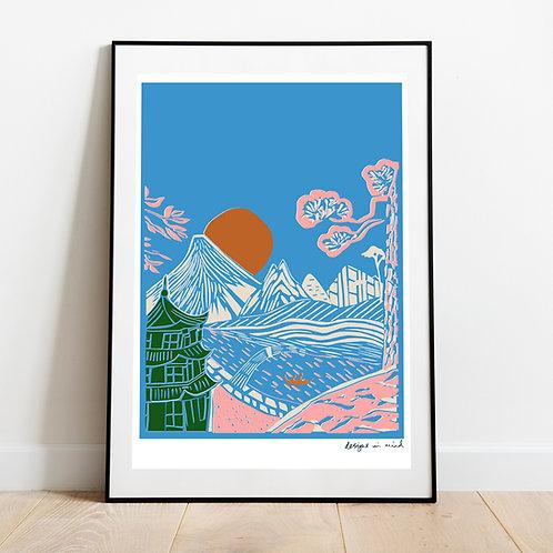 A3 Print -  Rising Sun, Japan Collection