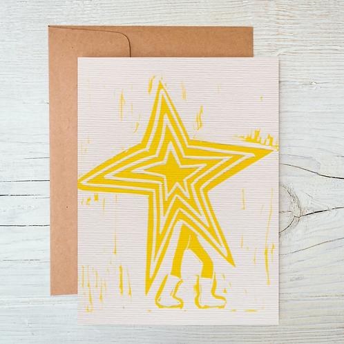 Disco Star Letter Press Greetings Card