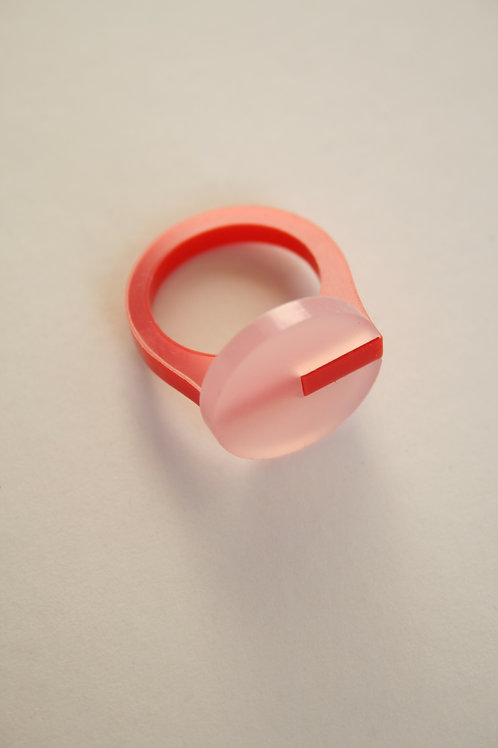 Perspex Ring- Red and Pink