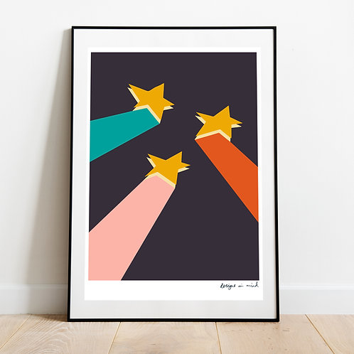 A3 Print -  Shooting stars, Starry Night Collection