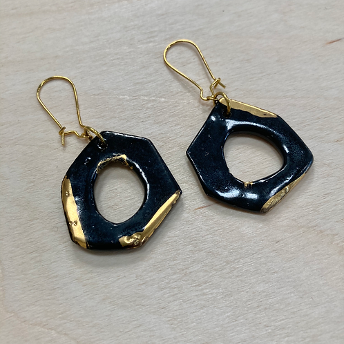 Black Hexagon Porcelain Earrings with Gold Luster
