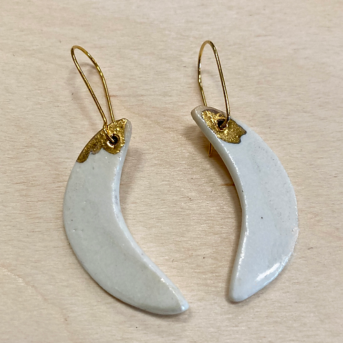Porcelain Moon Shape Earrings with Gold Luster