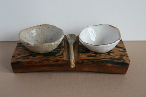Bespoke Ceramic Pinch Pots with Oak Holder