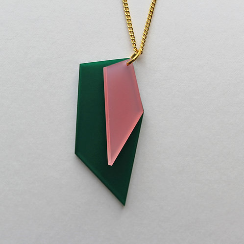 Perspex Necklace - Forest Green/Dusky Pink