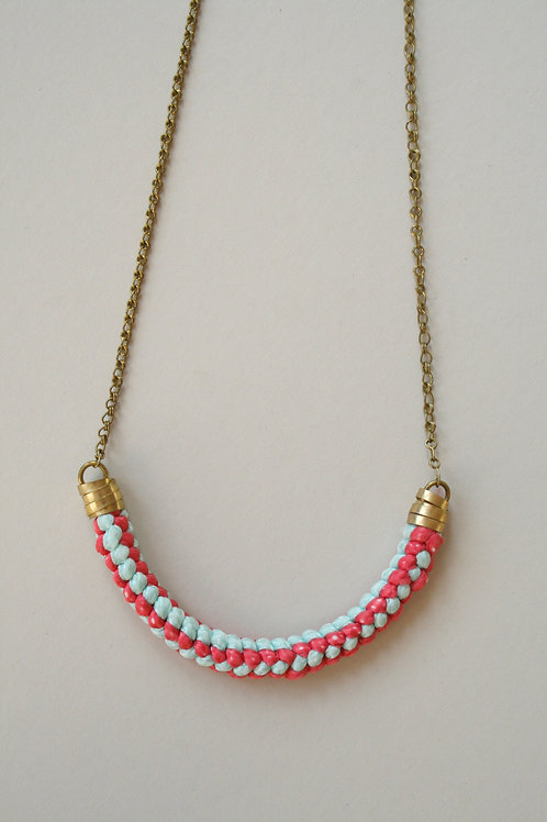 Rope Necklace -Red/Pale blue