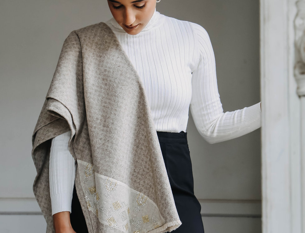 Beige Oversized Scarf with Tally