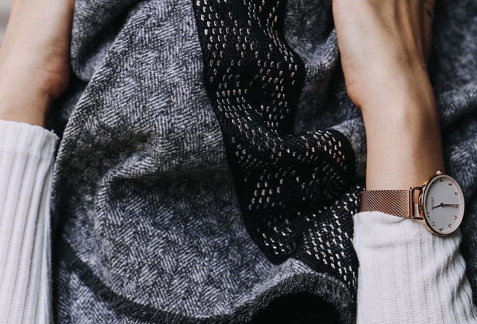 Grey Oversized Scarf with Tally