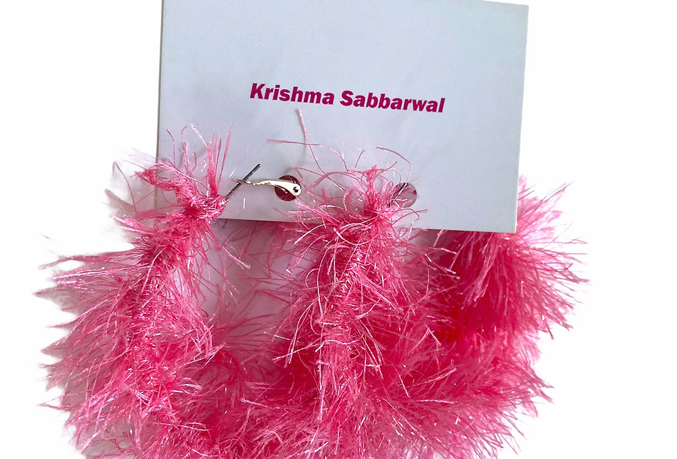 Hot Pink Fluffy earrings Large