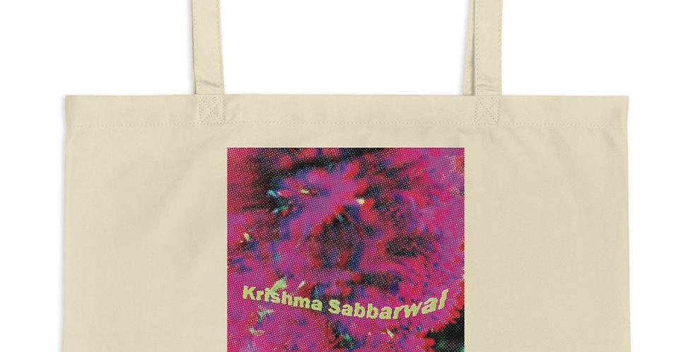 Printed distorted logo Large organic tote bag