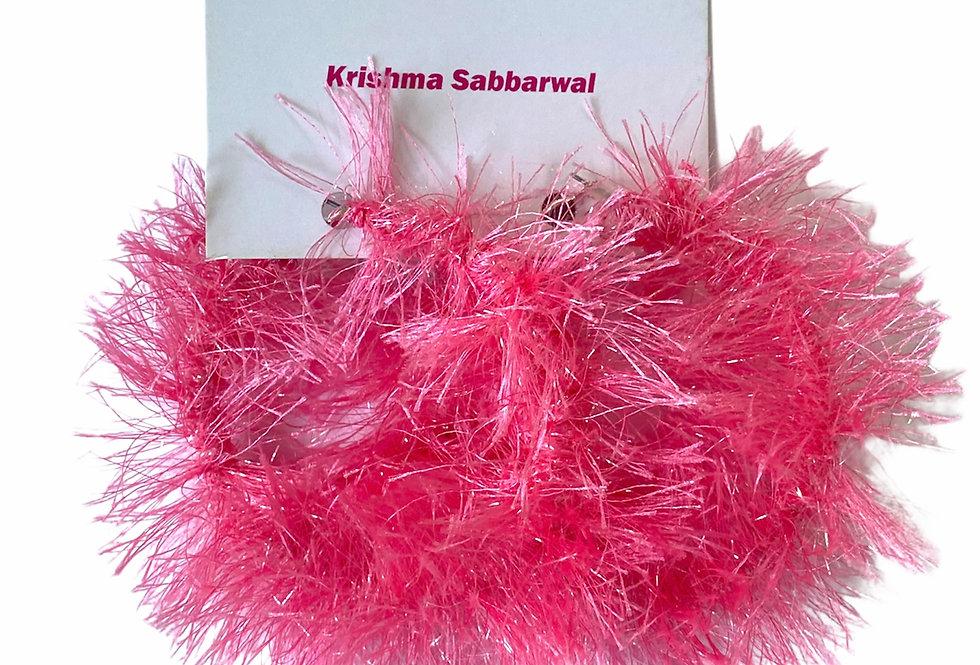 Hot Pink Fluffy earrings Medium