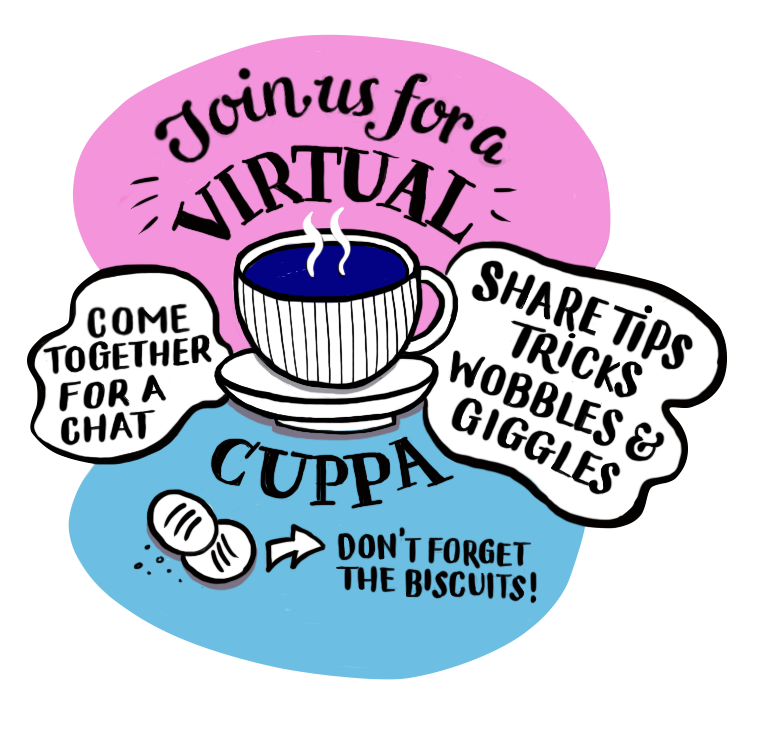 Illustration of a cup of tea. Virtual cuppa for carers
