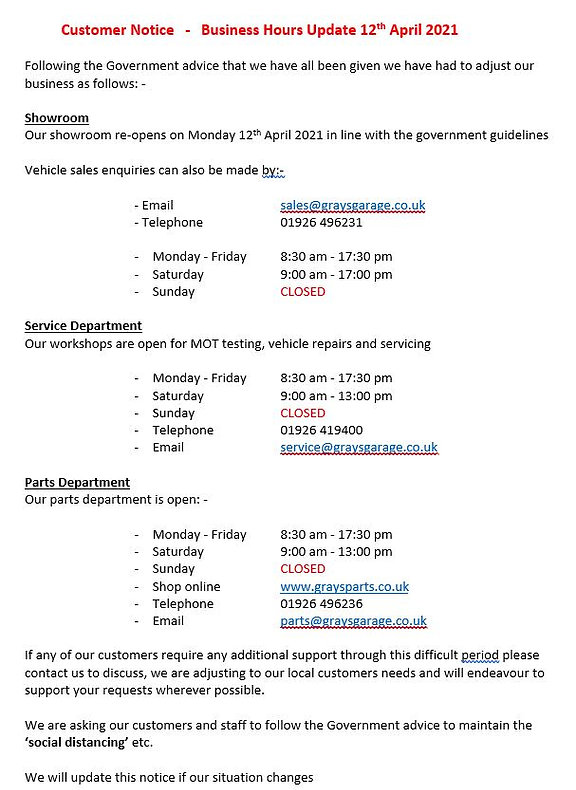 Grays of Warwick Business Hours Update 1