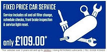 Car Service £109.00 fixed price menu car service, car servicing in Warwick