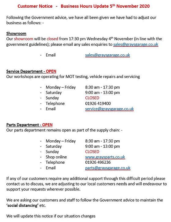 Business Hours Update 051120 Grays of Warwick
