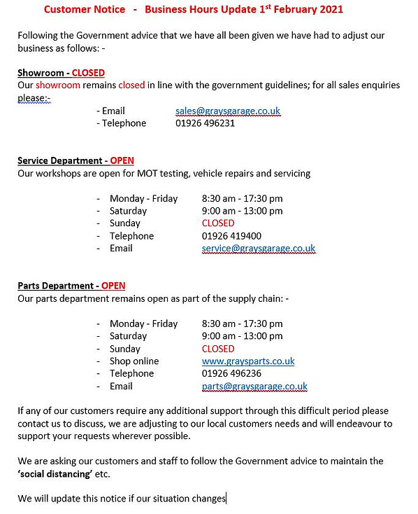 Business Hours Update 1st February 2021 Grays of Warwick