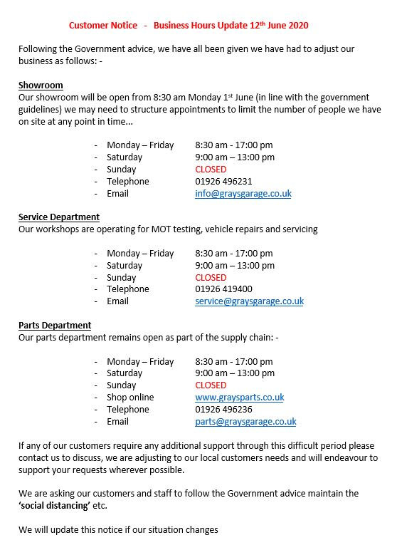 Business Hours Update 12th June 2020 Grays of Wawick