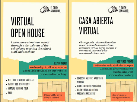 VIRTUAL OPEN HOUSE!!! CORRECT DATE APRIL 14th!