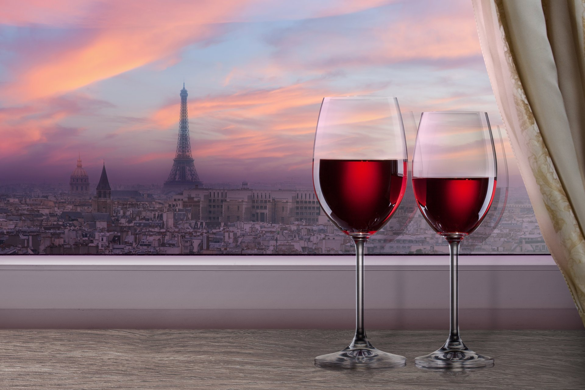 window-town-paris-eiffel-tower-the-window-sill-wine-red-glasses-shower-curtain-night