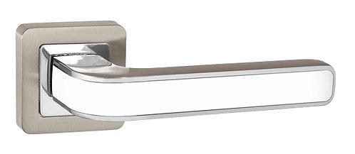 Ручка раздельная NOVA QR SN/WH-19 мат.никель/белый