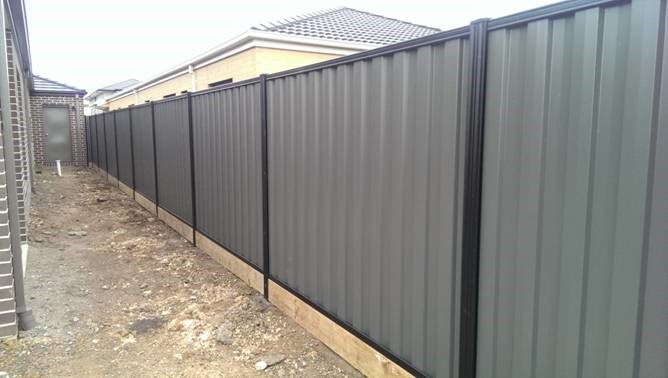 Colorbond Black and Greyridge with sleepers
