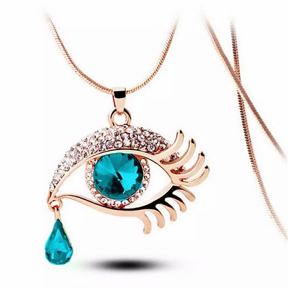 Eye  pendant and gold colour chain