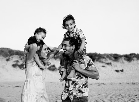 Golden hour family photography North Cornwall - Constantine Bay.