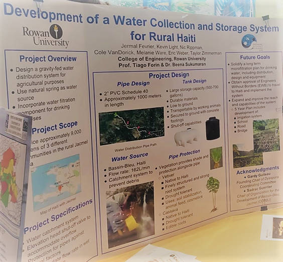 Development of a Water Collection and Storage System in Rural Haiti poster created by Rowan University students for the Bassin Bleu irrigation system project.