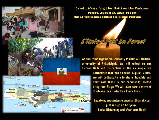 Vigil for Haiti on the Parkway