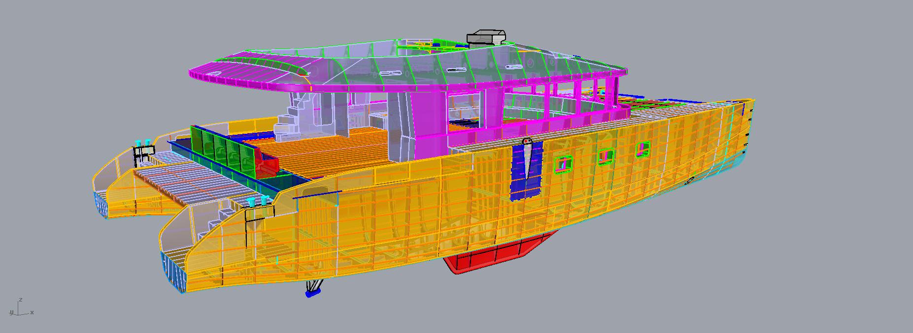 3D digital mock-up for 21m sail cat