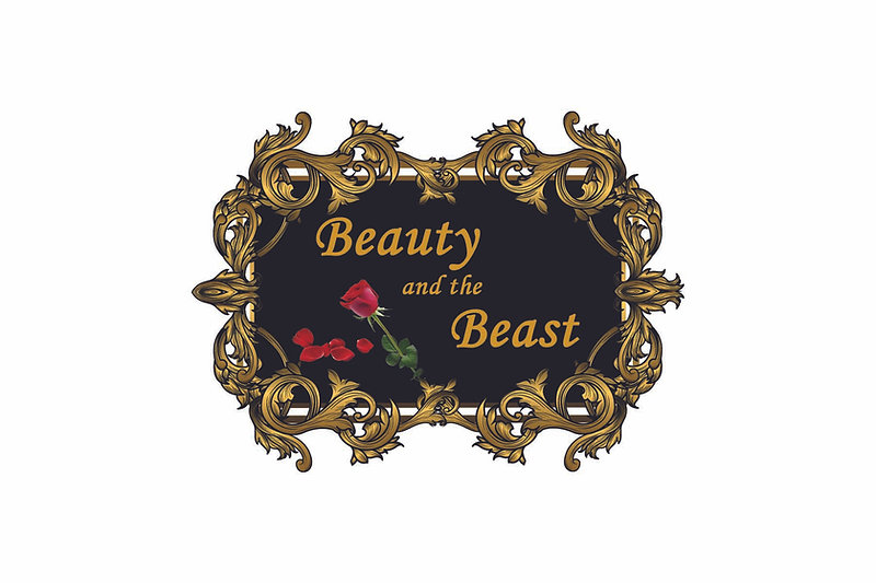 Gold Frame Beauty and the Beast roses we