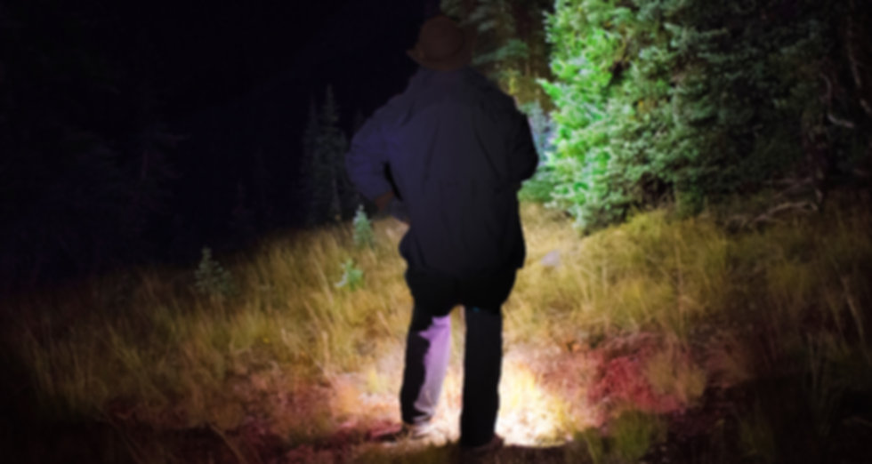 Hiker in forest showing wide peripheral LED lighting