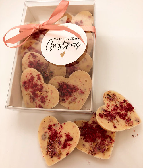 With love at Christmas - Raspberry & Rose Petal Hearts