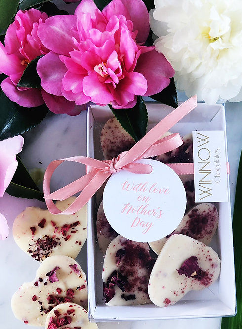 With love on Mother's Day - raspberry rose petal hearts