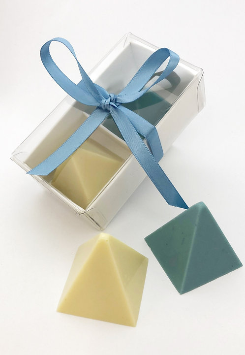 Cream and Blue Pyramid Box