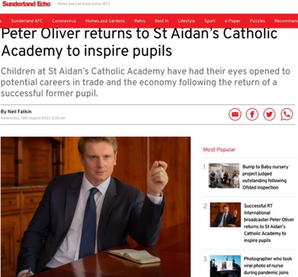 Successful RT International broadcaster Peter Oliver returns to St Aidan's Catholic Academy
