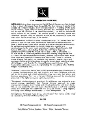 CK Talent Acquires Music Management Agency