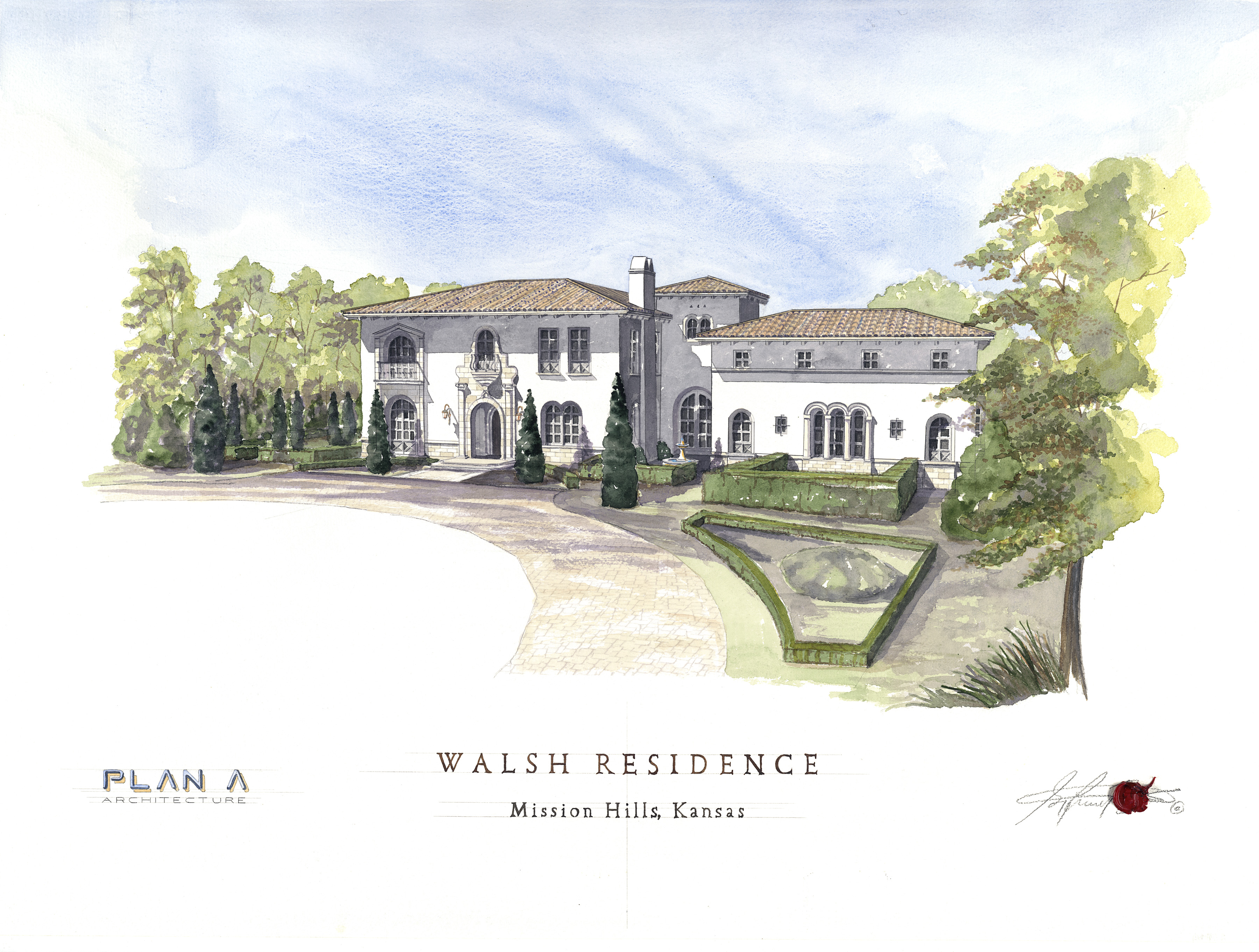 Watercolor of Mission Hills Residence