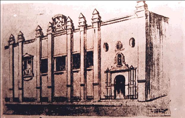 """Fachada de la """"Real Universidad"""" en Lima, Perú (s. XVIII)."""