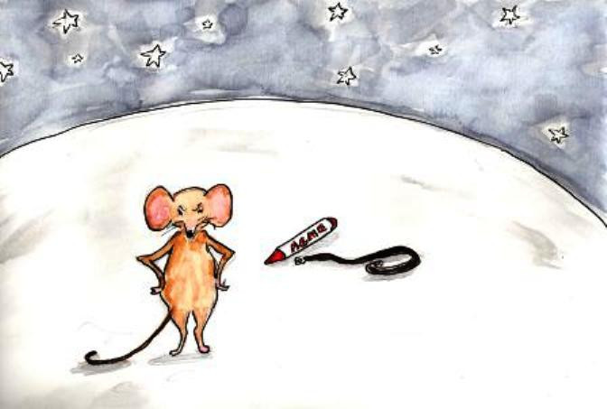A disappointed mouse standing on the moon