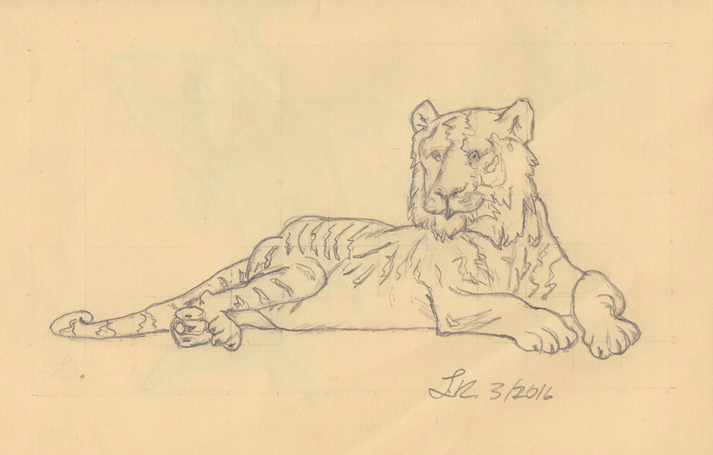Illustration Sketch of a tiger lying down. Short poem about a scary tiger for kids